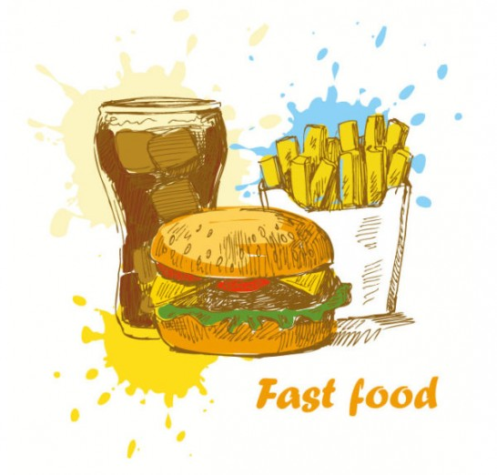 Hand drawn Different food elements vector 04