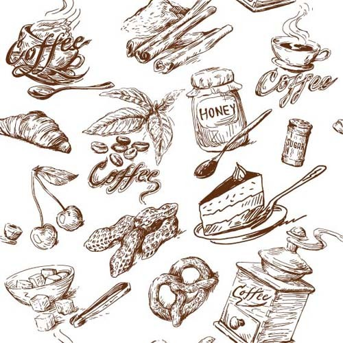 Hand drawn Illustrations Food elements vector 02