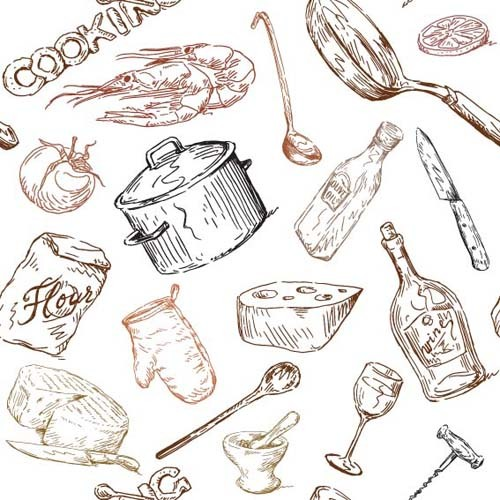 Hand drawn Illustrations Food elements vector 03