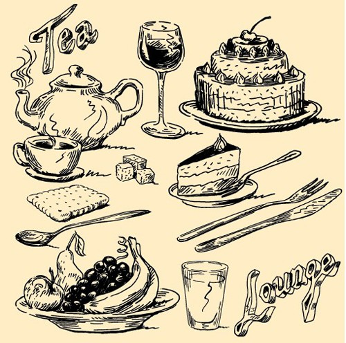 Hand drawn vintage food Illustrations vector 02
