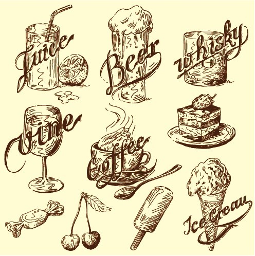 Hand drawn vintage food Illustrations vector 03