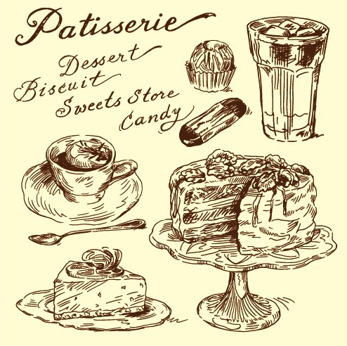 Hand drawn vintage food Illustrations vector 04 - Vector Food free download