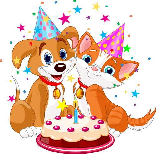 Cute-cartoon-animal-with-cake-vector-set