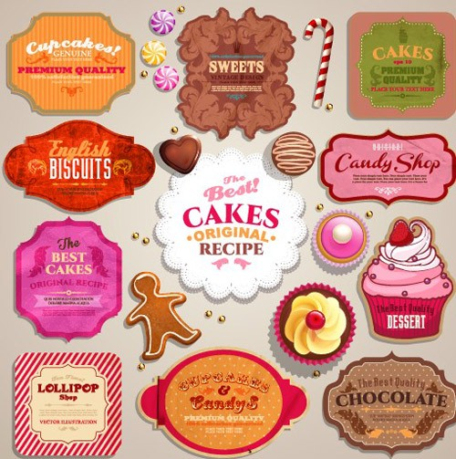 Vintage-sweets-and-cake-labels-vector