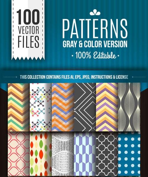商用利用可!ベクター形式の無料のシームレスパターンが100種類が同梱された「Free download: 100 repeating vector patterns from freepik.com」