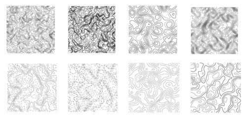 無料の地図/マップ/等高線のシームレスパターン素材8