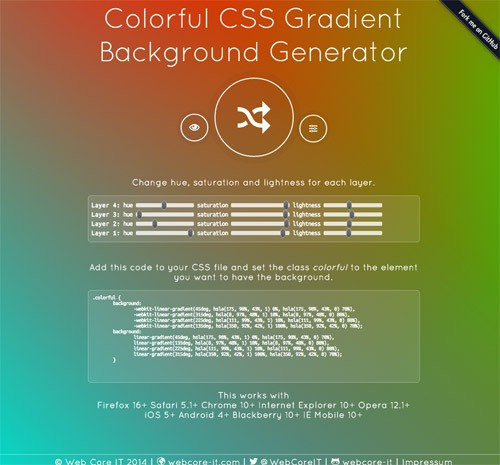 CSSグラデーションを簡単につくれる「Colorful CSS Gradient Background Generator」