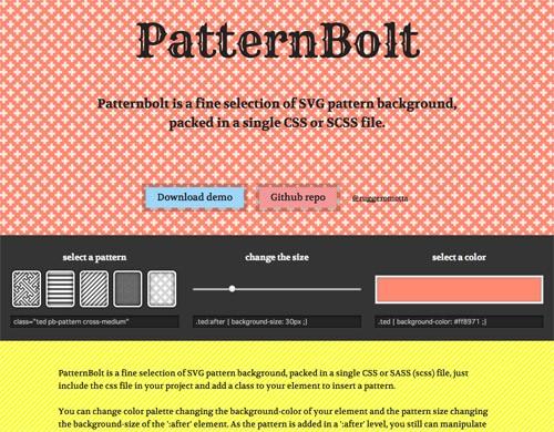SVGのシームレスパータンを生成できる無料のフリージェネレーター「PatternBolt」