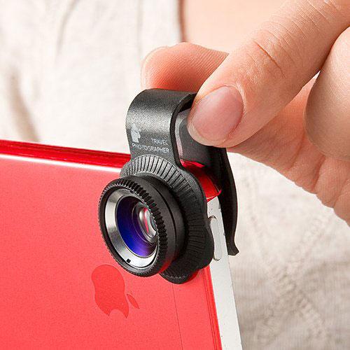 サンワダイレクト iPhone・スマホカメラレンズキット iPhone6 6Plus iPhone5s 対応 マクロ 魚眼 ワイドレンズセット