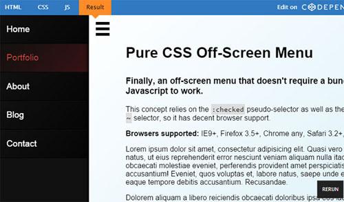 左右からメニューがスルッ!CSSだけで作れらたオフカンバスメニュー