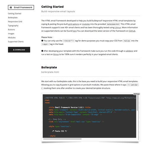 レスポンシブ対応HTMLメールのフレームワーク集「Responsive HTML Email Framework」