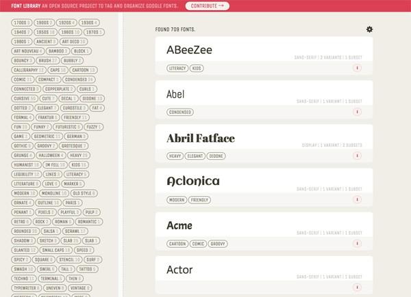 Googleフォントをタグで検索!目的のGoogleフォントをすぐに見つけられる「Font Library」