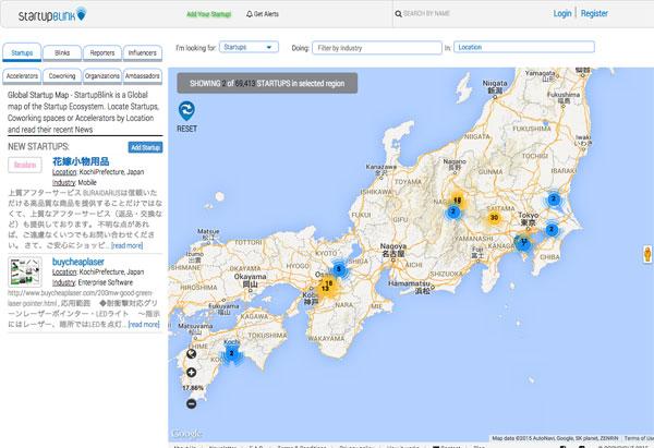 世界中のスタートアップを地図上で表示する「StartupBlink」