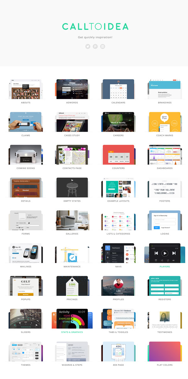 WEBデザインのインスピレーションに最適!パーツ/テーマごとのデザイン見本帳「calltoidea」