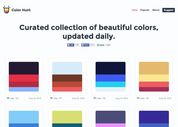 配色に困ったら!参考配色例付き配色提案サービス「Color Hunt」が便利