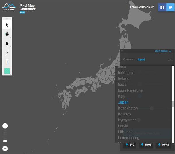 無料地図製作ツールの決定版!? 日本をはじめとする世界各国の地図をカスタマイズしてSVG,HTML,PNGで書き出せる「Pixel Map Generator」