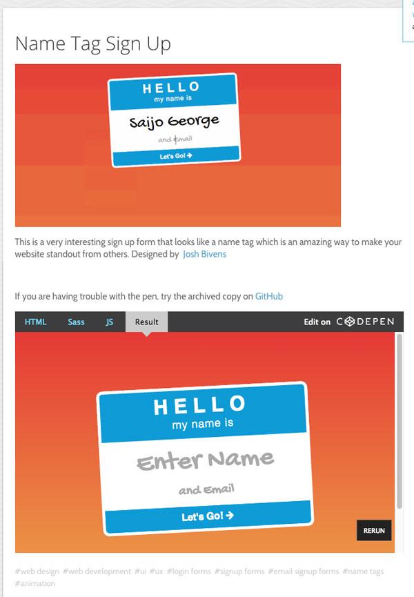 WEBデザインのインスピレーションに!UIデザインのコードスニペットコレクション「CodeMyUI」