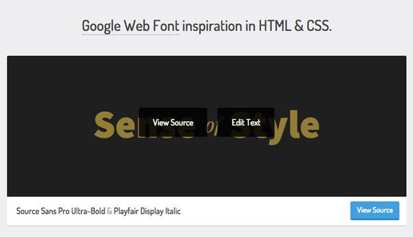 デザインで使えるGoogleフォントをHTML+CSS付きで表示してくれる「TypeSource」