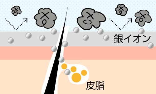 加齢臭には650種類もの雑菌を殺菌してくれる銀イオンがさらに効果的
