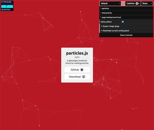 WEBサイトの背景に幾何学的なポリゴンアニメーションを簡単に実装できる「particles.js」